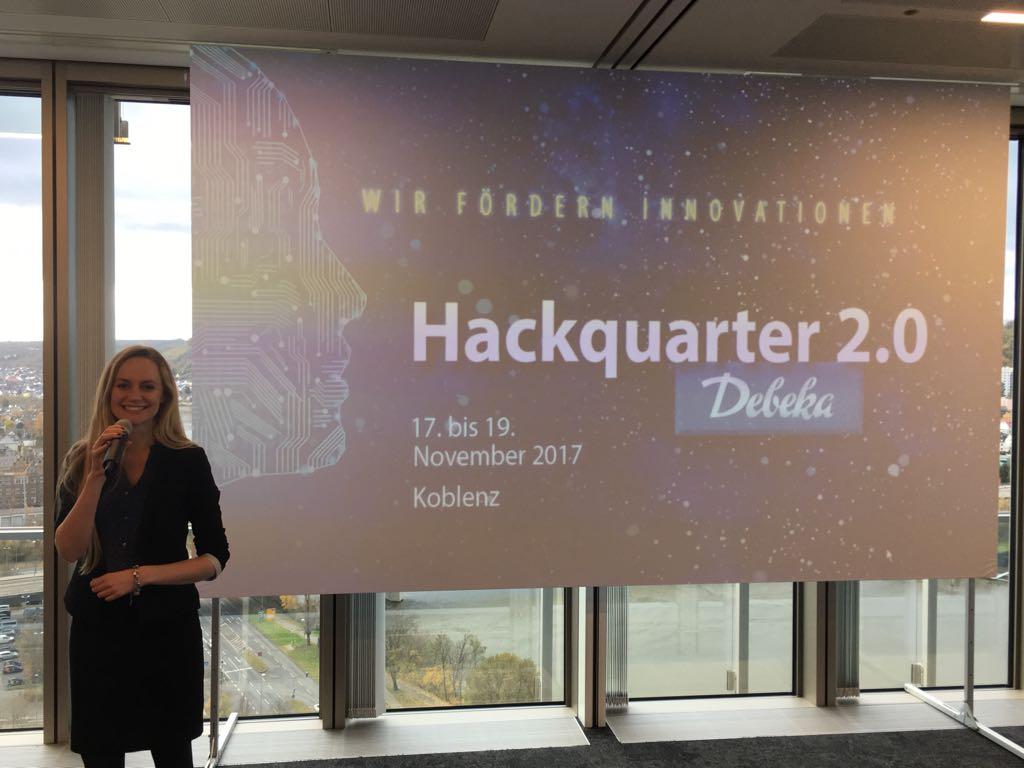 Janina Treis moderierte das Innovationswochenende der Debeka unter dem Motto ´Digitalisierung der Versicherungsbranche´. Programmierer, Designer und Betriebswirtschaftler aus ganz Deutschland generierten und programmierten 3 Tage lang innovative Ideen.